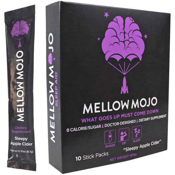 Mellow Mojo 10 Stick-Pack Box Anti Stress Magnesium & Melatonin Supplement Powder - Calms, Relaxes & Induces Healthy Sleep - Apple Cider Flavor - 10 Servings