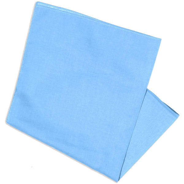 "Basico 100% Cotton Head Wrap Solid Bandanas 12 Pack 22""x22"" (Sky Blue)"