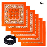 Orange color Bandana 100% Cotton Head Wrap Paisley Bandana 6 12 Pack