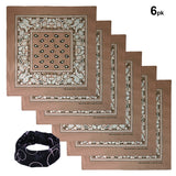 Tan color Bandana 100% Cotton Head Wrap Paisley Bandana 6 12 Pack