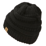BASICO Women's Ponytail Knit Beanie Cap Hat #1716 Black