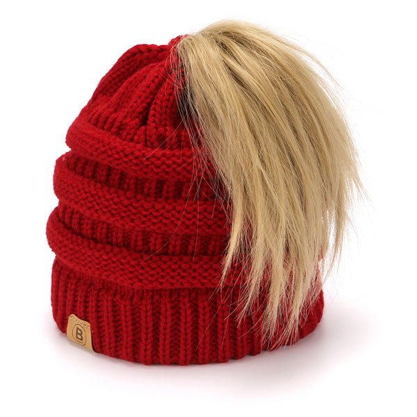 BASICO Women's Ponytail Knit Beanie Cap Hat #1716 Burgundy