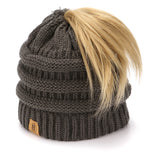 BASICO Women's Ponytail Knit Beanie Cap Hat #1716 C.Grey