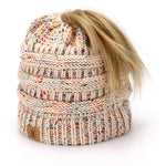 BASICO Women's Ponytail Knit Beanie Cap Hat #1716 Mix Beige