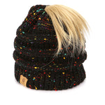BASICO Women's Ponytail Knit Beanie Cap Hat #1716 Mix Black