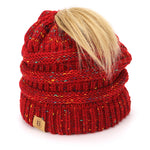 BASICO Women's Ponytail Knit Beanie Cap Hat #1716 Mix Burgundy