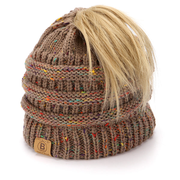 BASICO Women's Ponytail Knit Beanie Cap Hat #1716 Mix Camel