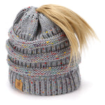 BASICO Women's Ponytail Knit Beanie Cap Hat #1716 Mix Heather Grey