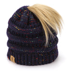 BASICO Women's Ponytail Knit Beanie Cap Hat #1716 Mix Navy