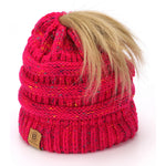 BASICO Women's Ponytail Knit Beanie Cap Hat #1716 Mix Pink