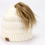BASICO Women's Ponytail Knit Beanie Cap Hat #1716 White