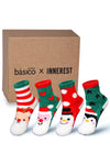 Basico Innerest KIDS' Cozy Fuzzy Socks 4 pairs with Gift Box (#4)