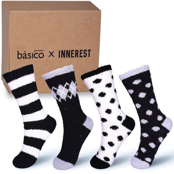 Basico Innerest Women's Cozy Fuzzy Socks 4 pairs with Gift Box (#2)