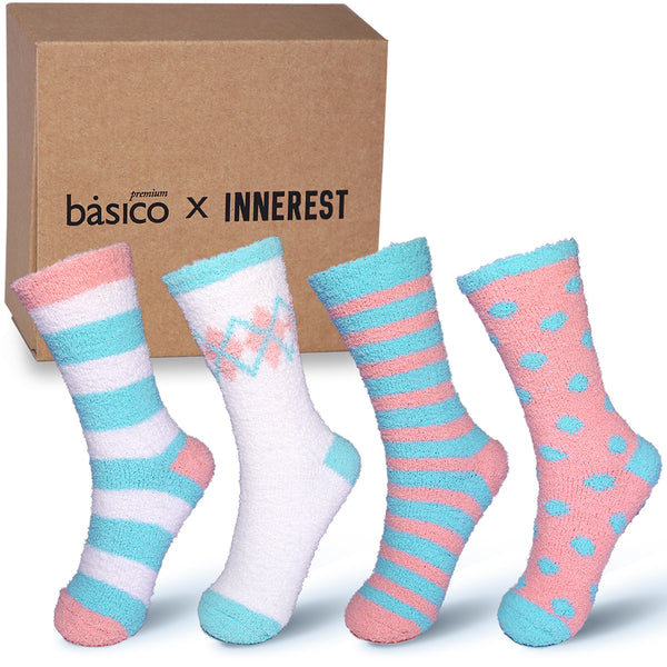 Basico Innerest Women's Cozy Fuzzy Socks 4 pairs with Gift Box (#3)