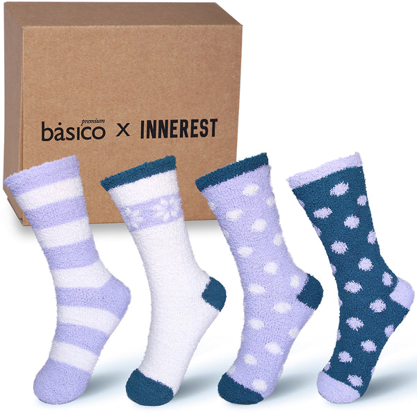 Basico Innerest Women's Cozy Fuzzy Socks 4 pairs with Gift Box (#4)