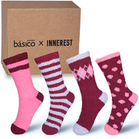 Basico Innerest Women's Cozy Fuzzy Socks 4 pairs with Gift Box (#5)