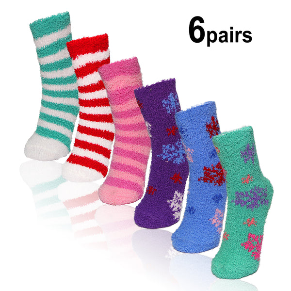 Basico Women's Fuzzy Cozy Socks 6pairs Set (7 variations)