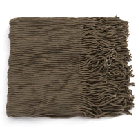 Basico Knit Infinity Scarf with Tassels- Slate