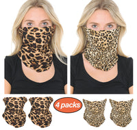 Basico Leopard Print Aniaml Print Multifunctional Balaclava Neck Gaiter Face Covering Bandana for Outdoor, Sports, Automotive Gear, Workout (4Packs)