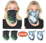 Basico Tie Dye Bandana Multifunctional Balaclava Neck Gaiter Face Covering Bandana for Outdoor, Sports, Automotive Gear, Workout (4Packs)