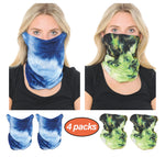 Basico Stylish Tie Dye Bandana Multifunctional Balaclava Neck Gaiter Face Covering Bandana for Outdoor, Sports, Automotive Gear, Workout / Seamless Tube Mask (4Packs)