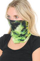 Basico Automotive Gear Balaclavas Seamless Face Mask Bandanas (Yellow Green Tie Dye Style)