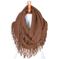 Basico Knit Infinity Scarf with Tassels- Cinnamon