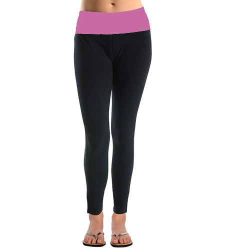 Basico Women's Lady Cotton Spandex Fold Over Waist Yoga Workout Lounge Pants Leggings