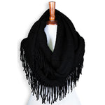 Basico Knit Infinity Scarf with Tassels- Black