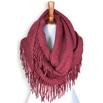 Basico Knit Infinity Scarf with Tassels- Dry Rose