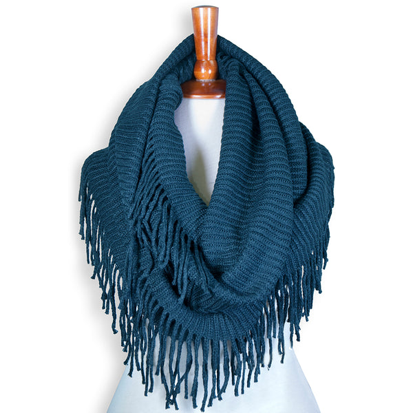 Basico Knit Infinity Scarf with Tassels- Dark Teal