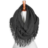 Basico Knit Infinity Scarf with Tassels- Dark Grey
