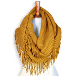 Basico Knit Infinity Scarf with Tassels- Mustard Yellow