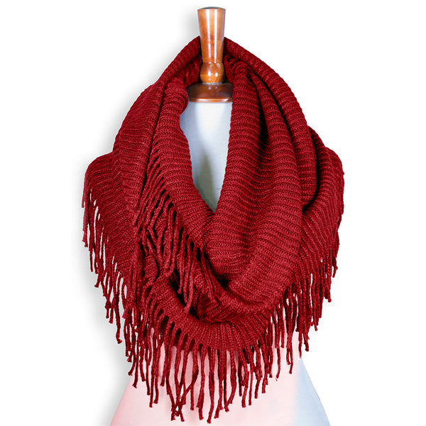 Basico Knit Infinity Scarf with Tassels- Red