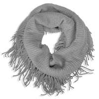 Basico Knit Infinity Scarf with Tassels- Heather Grey