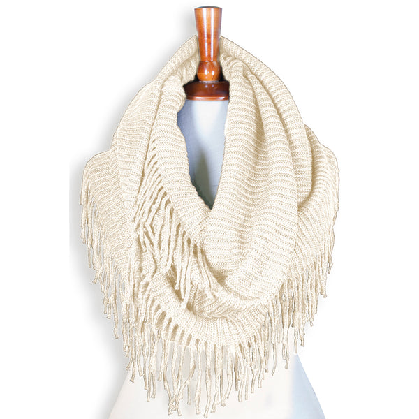 Basico Knit Infinity Scarf with Tassels- Ivory