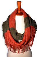 Basico Knit Infinity Scarf with Tassels Various Colors