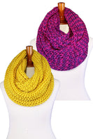 Basico Unisex Adult Junior Winter Knitted Infinity Circle Loop Scarf Chunky Cable Waffle- Various Colors 2pkc