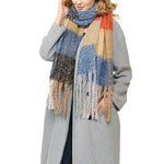 Basico Maxi Scarf with Tassels Plaid Beige