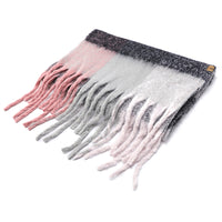 Basico Maxi Scarf with Tassels Plaid Pink