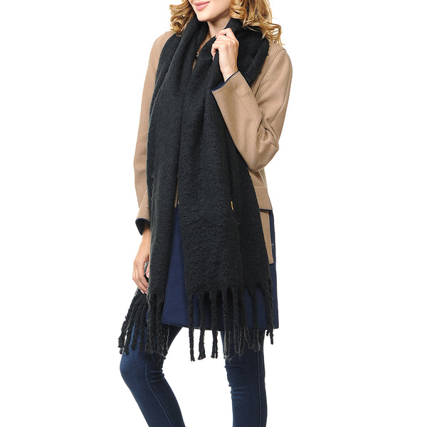 Basico Maxi Scarf with Tassels Black