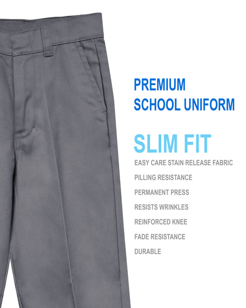 Boys Junior Premium School Uniform Pants Slim Fit Size 4-20