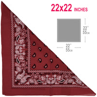 Wine color Bandana 100% Cotton Head Wrap Paisley Bandana 6 12 Pack