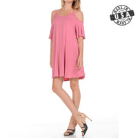 OFF Shoulder Short Sleeve Mini Dress [ Mauve / S, M, L, XL ]