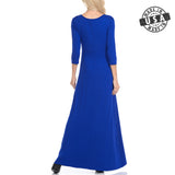 3/4 Sleeve Maxi Dress Royal Blue [ S, M, L ]