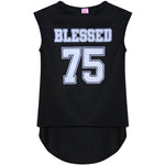 BASICO Girl's USA Sleeveless T Shirts Graphic Printed Short Sleeves Tees (Blessed)