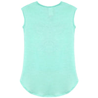 BASICO Girl's USA Sleeveless T Shirts Graphic Printed Short Sleeves Tees (Mint Paris)