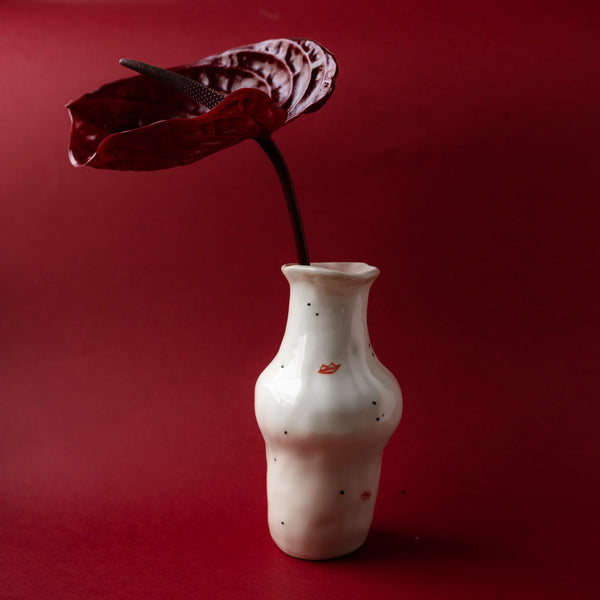 Flower Vase Red Lips