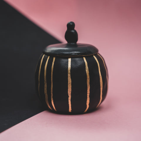 Sugar Bowl Black and Gold/Stripes