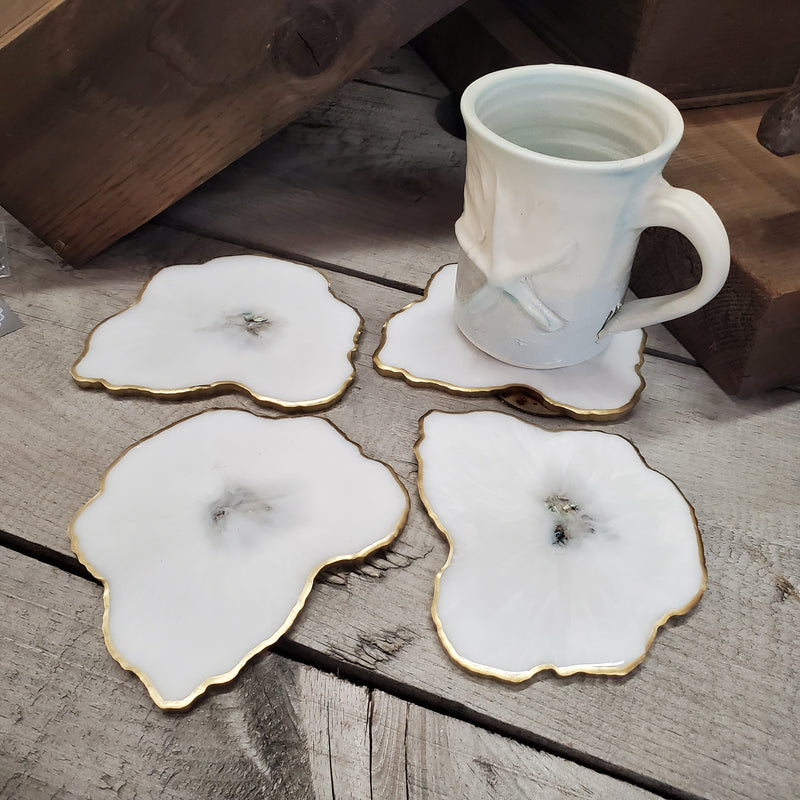 White Geode Resin Coaster (Set of 4)